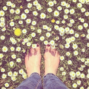barefoot in grass